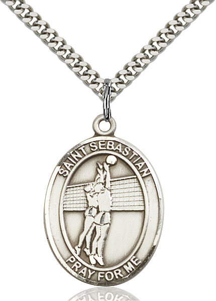 Sterling Silver St. Sebastian Volleyball Pendant