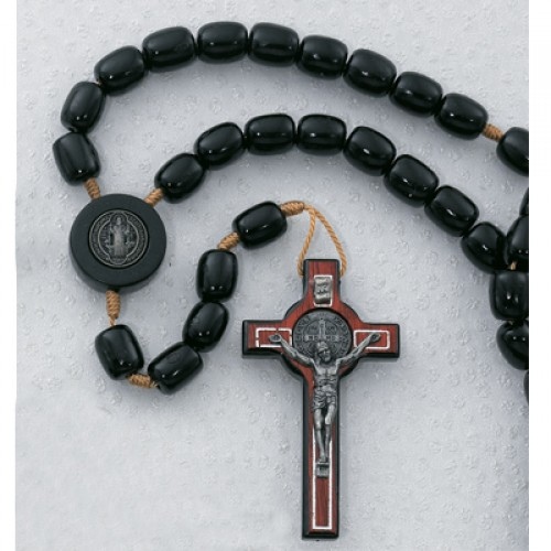 8X10MM Black St Benedict Rosary