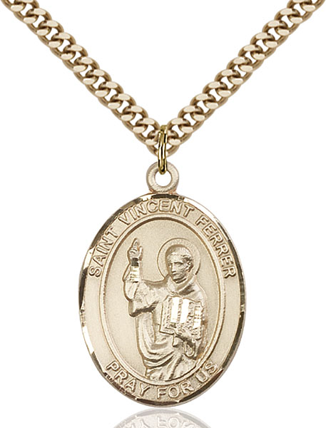 Gold-Filled St. Vincent Ferrer Pendant