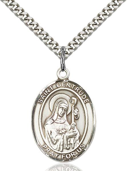 Sterling Silver St. Gertrude of Nivelles Pendant