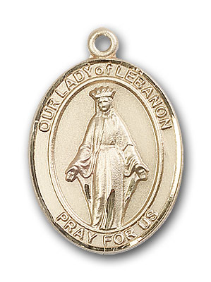 14K Gold OUR LADY of Lebanon Pendant