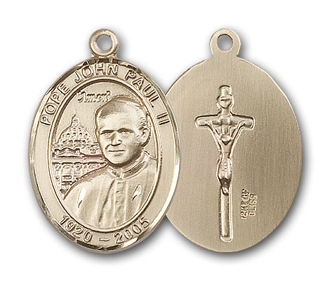 14K Gold Pope John Paul II Pendant