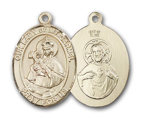 14K Gold OUR LADY of Mount Carmel Pendant