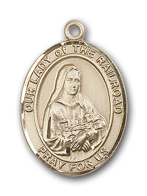 14K Gold OUR LADY of the Railroad Pendant