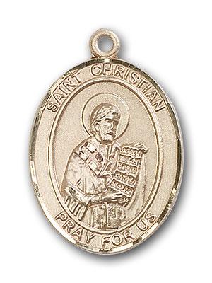 14K Gold St. Christian Demosthenes Pendant