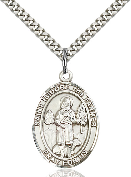Sterling Silver St. Isidore the Farmer Pendant