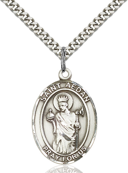Sterling Silver St. Aedan of Ferns Pendant