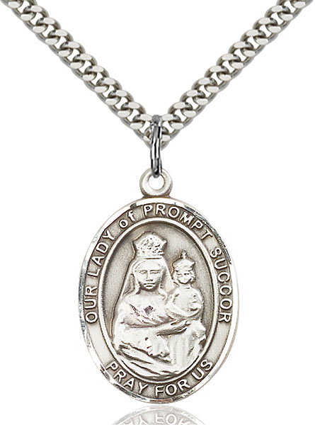 Sterling Silver Our Lady of Prompt Succor Pendant