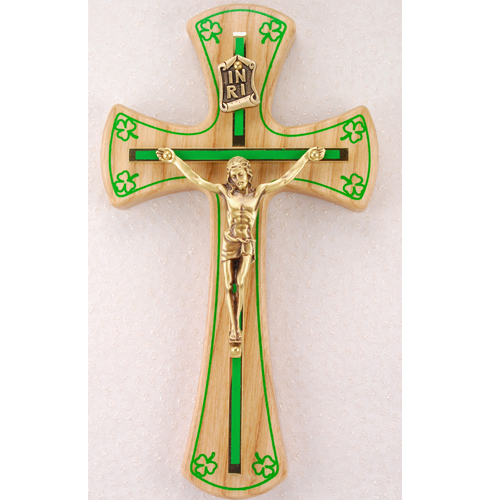 "6"" Oak Crucifix Gold"