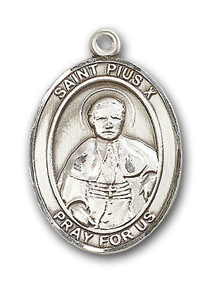 Sterling Silver St. Pius X Pendant