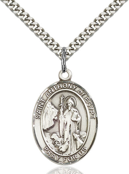 Sterling Silver St. Anthony of Egypt Pendant
