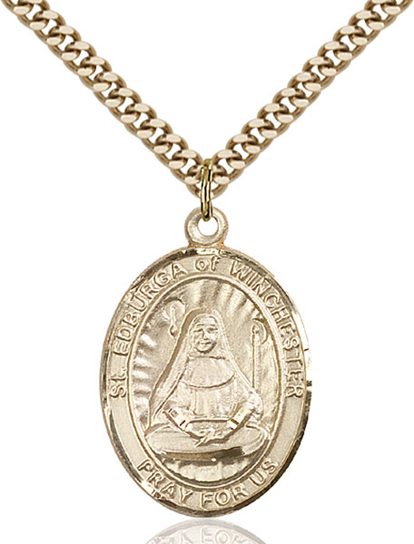 Gold-Filled St. Edburga of Winchester Pendant
