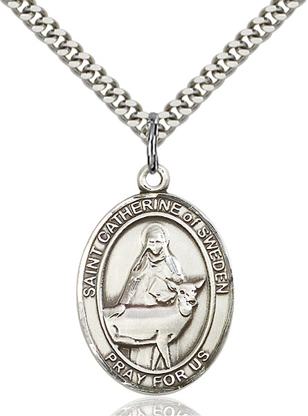 Sterling Silver St. Catherine of Sweden Pendant