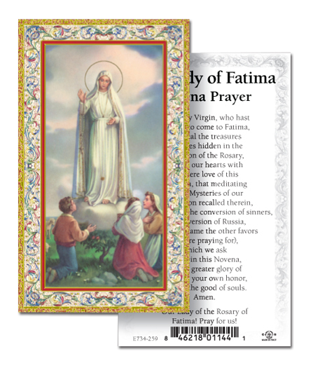 100-Pack - Our Lady Of Fatima Novena Holy Card