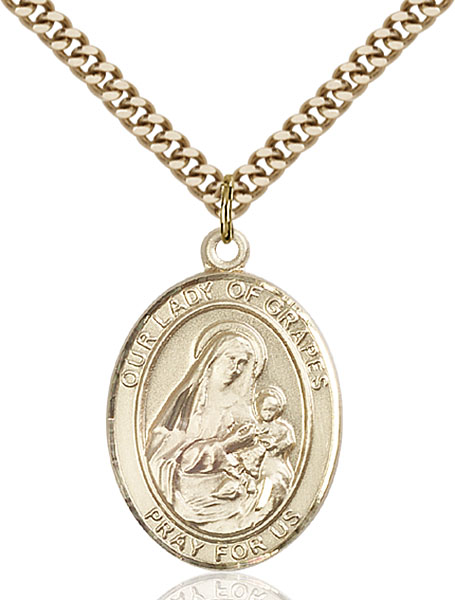 Gold-Filled Our Lady of Grapes Pendant