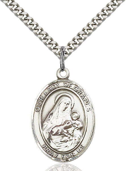 Sterling Silver Our Lady of Grapes Pendant