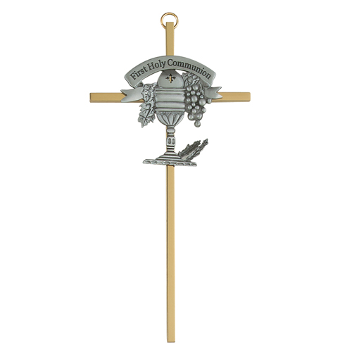 """7"""" Sterling Silver Crucifix With Chalice"""