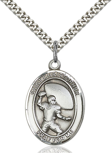 Sterling Silver St. Christopher Football Pendant
