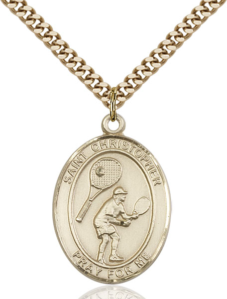Gold-Filled St. Christopher Tennis Pendant
