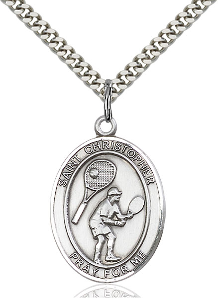 Sterling Silver St. Christopher Tennis Pendant