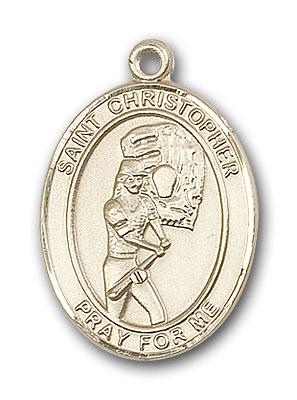 14K Gold St. Christopher Softball Pendant