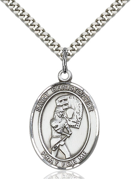 Sterling Silver St. Christopher Softball Pendant