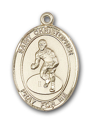14K Gold St. Christopher Wrestling Pendant