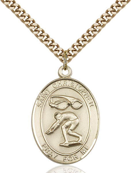 Gold-Filled St. Christopher Swimming Pendant