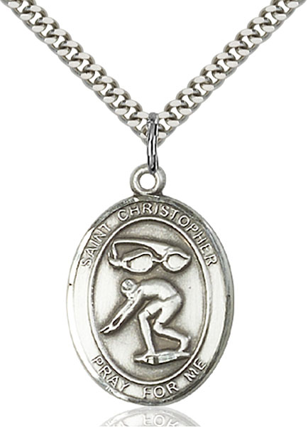 Sterling Silver St. Christopher Swimming Pendant