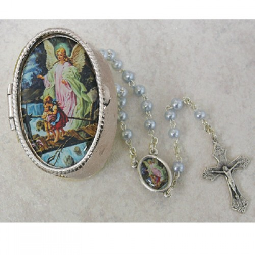 Guard. Angel Blue Rosary with Box