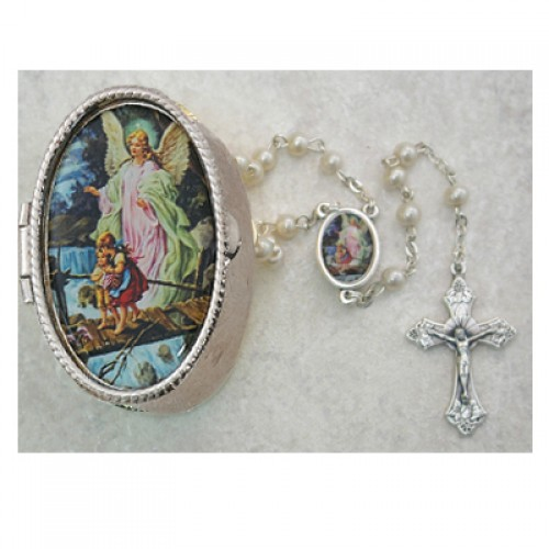 Guard. Angel Pearl Rosary with Box