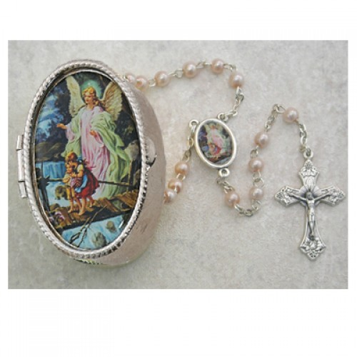 Guard. Angel Pink Rosary with Box