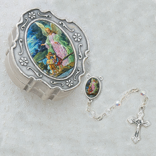 Guard. Angel Crystal Rosary with Box