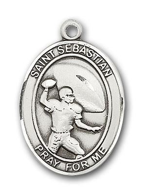 Sterling Silver St. Sebastian Football Pendant