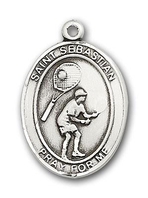 Sterling Silver St. Sebastian Tennis Pendant