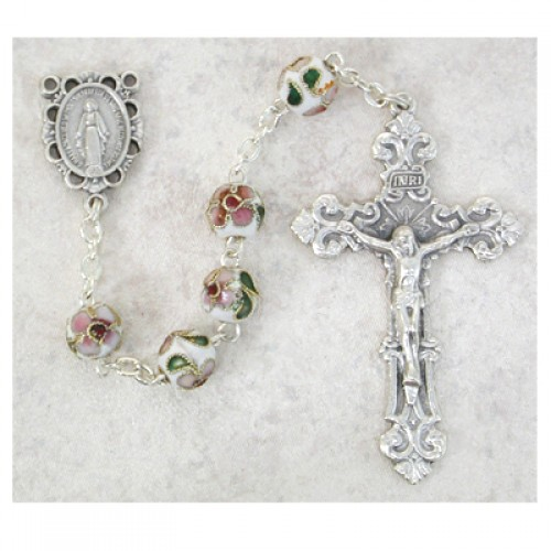7MM White Real Cloisonne Rosary