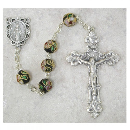 7MM Black Real Cloisonne Rosary