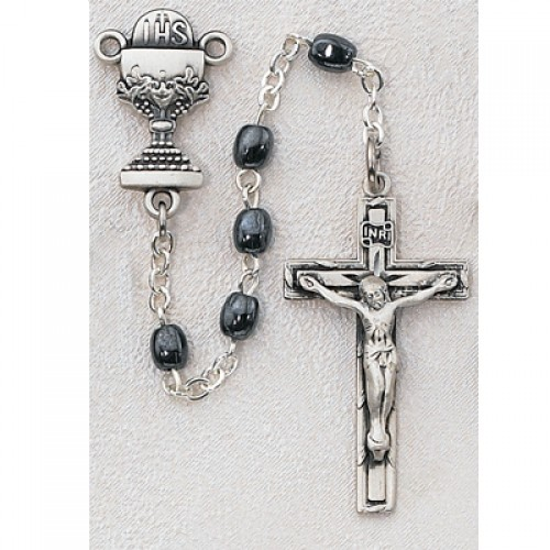 Sterling Silver Oval Hematite Rosary