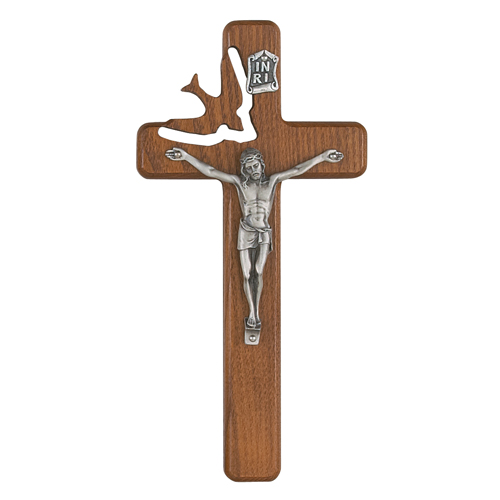 "8"" Walnut Holy Spirit Crucifix"