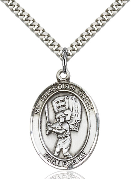 Sterling Silver Guardian Angel Baseball Pendant