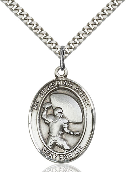 Sterling Silver Guardian Angel Basketball Pendant