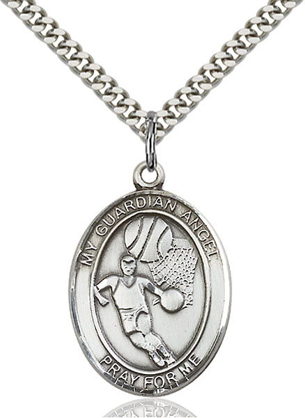 Sterling Silver Guardian Angel Football Pendant