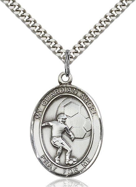 Sterling Silver Guardian Angel Soccer Pendant