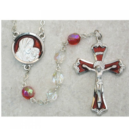 7MM Crystal/Red Rosary with Enamel