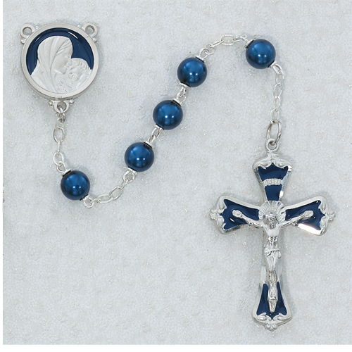 7MM Dark Blue Rosary with Enamel