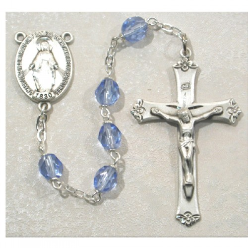 Sterling Silver 7MM Blue Crystal  Rosary