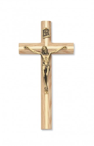 "8"" Oak Crucifix with Gold Inlay"