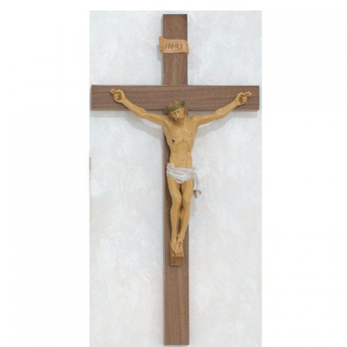 "24"" Walnut-Italian Corpus Crucifix"