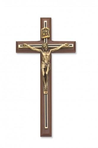 "8"" Walnut Crucifix Blk/Gld Overlay"