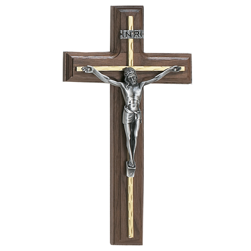 "10"" Walnut Crucifix Silver Overlay"